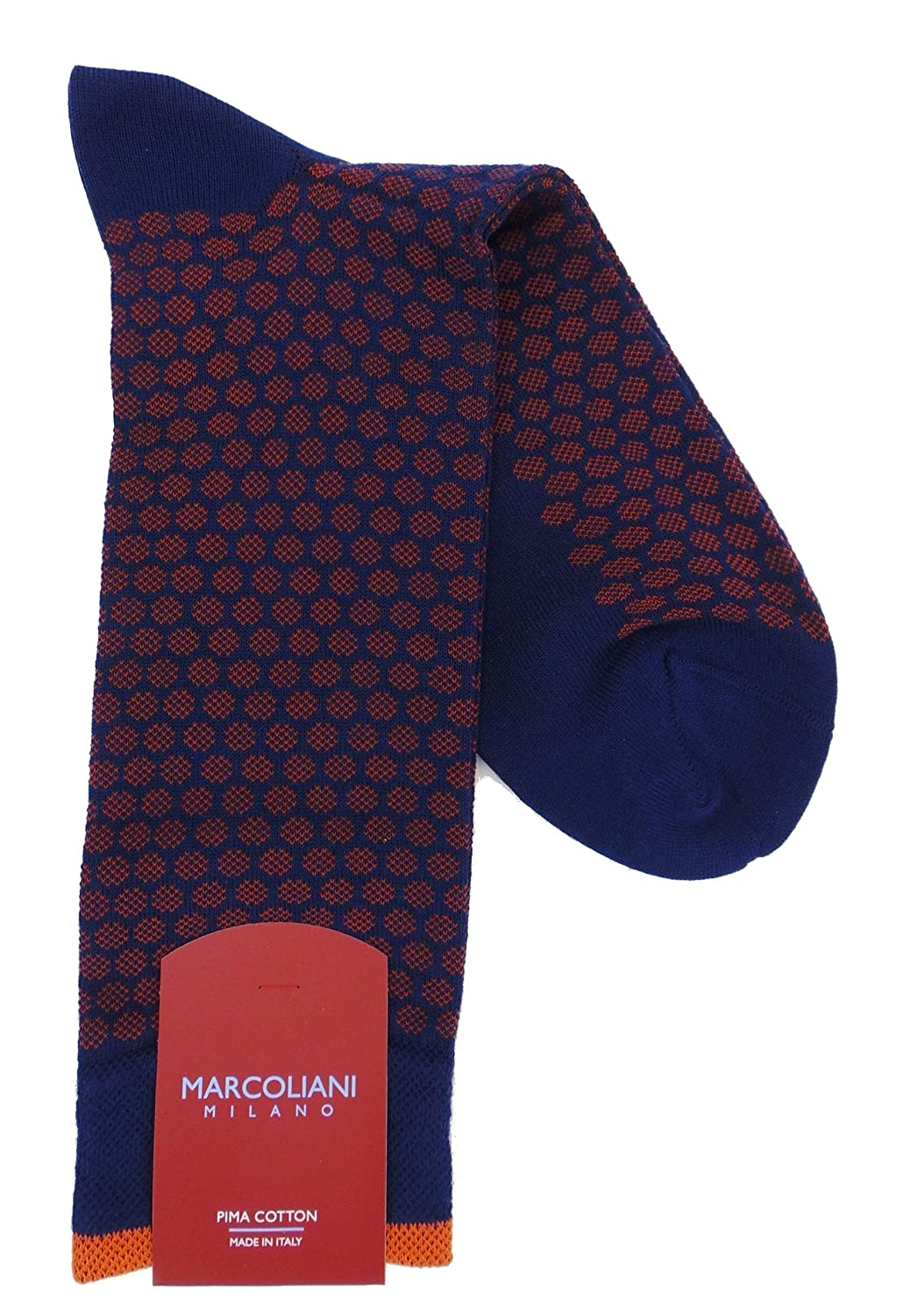 Marcoliani Milano Mens Mid Calf Jacquard Dots Pima Cotton Socks