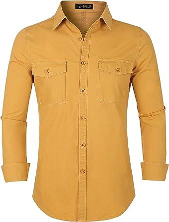 MAROJO - Camisa de manga larga para hombre, sin planchar, cómoda, ajustada, monocromática, casual: Amazon.es: Ropa y accesorios