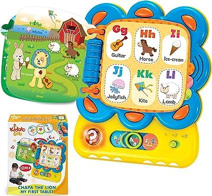 Kiddolab Juguetes De Aprendizaje Para Niños Pequeños Chapa El León Mi Primera Tableta Interactiva Touch And Learn Actividad Libro De Sonido Alfabeto Y Palabras Juguete De Aprendizaje Para Bebés Juguetes Educativos