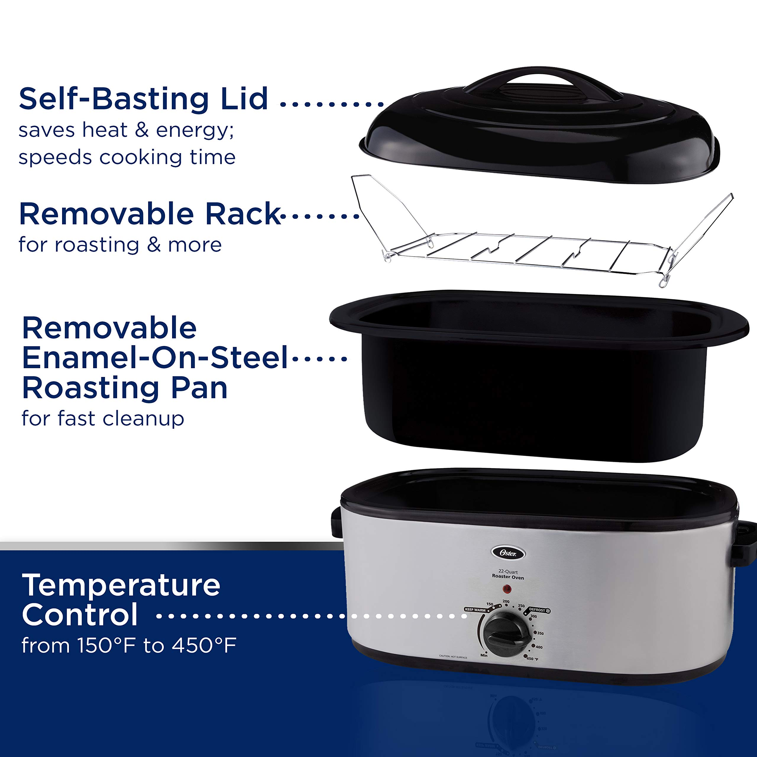 Oster 18 Quart Roaster Oven With Self Basting Lid Black: Oster Roaster Oven With Self-Basting Lid, 22-Quart
