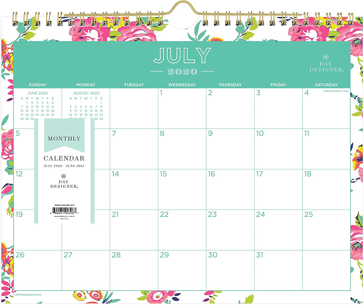 "Day Designer for Blue Sky 2020-2021 Academic Year Monthly Wall Calendar, Twin-Wire Binding, 11"" x 8.75"", Peyton White (107936-A21)"