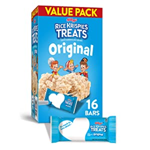 Kellogg's Rice Krispies Treats Original Marshmallow Bars - Classic Kid School Snack, Bulk Size, Single Serve (Pack of 6 Boxes - 96 Count)
