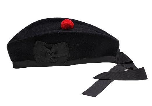 a8799b7a072 Amazon.com  Glengarry Hat Plain Black -100% Pure Wool Classic Scottish  Design SIZES 50-64CM  Clothing