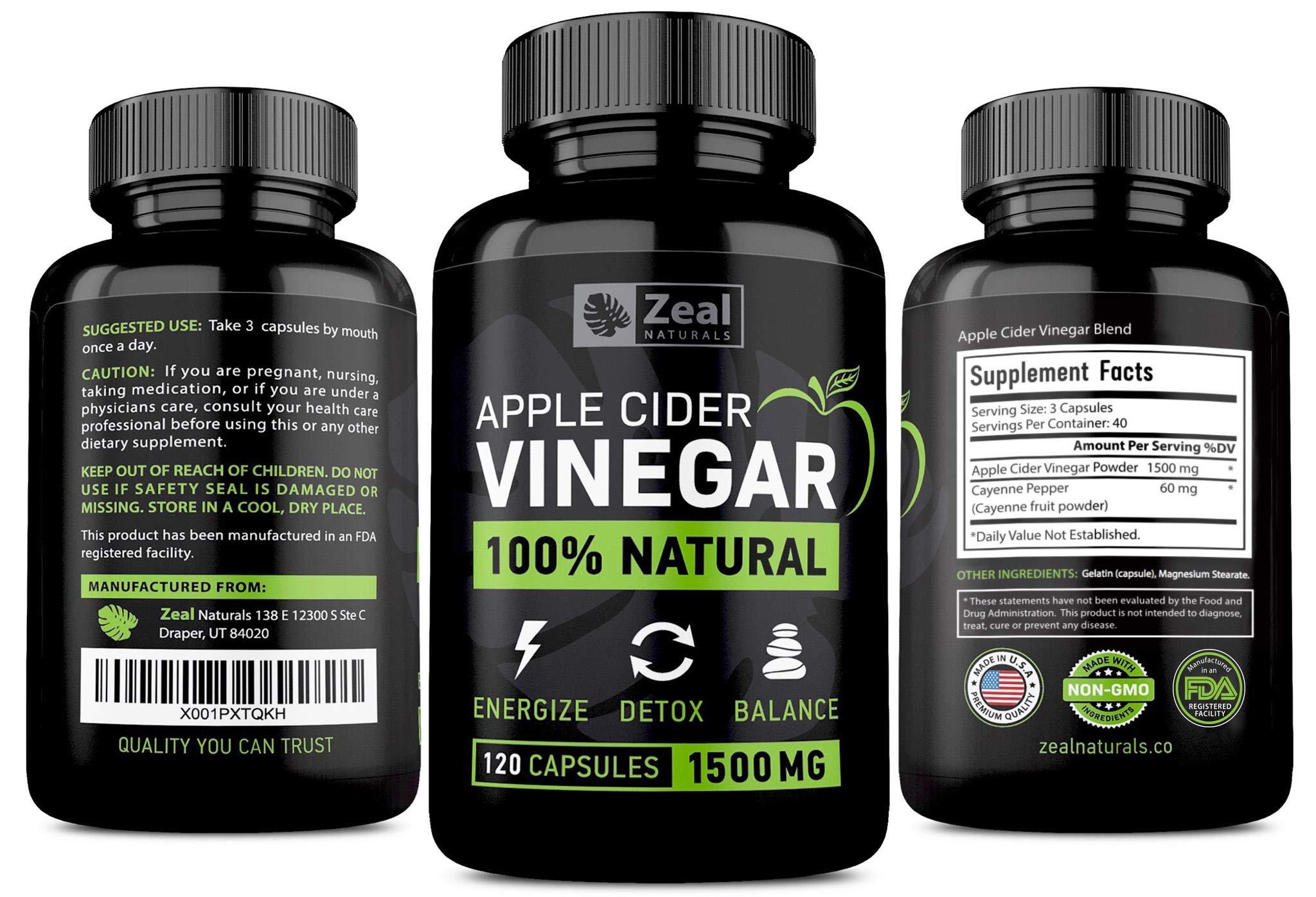 100% Natural Raw Apple Cider Vinegar Pills (1500 mg | 120 ...