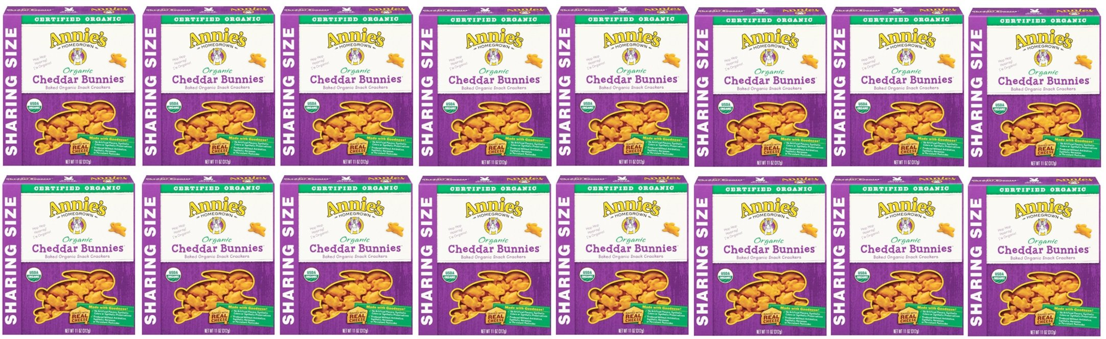 Annie's Organic Cheddar Bunnies, Baked Snack Crackers, 11 oz Box (Pack of 16)