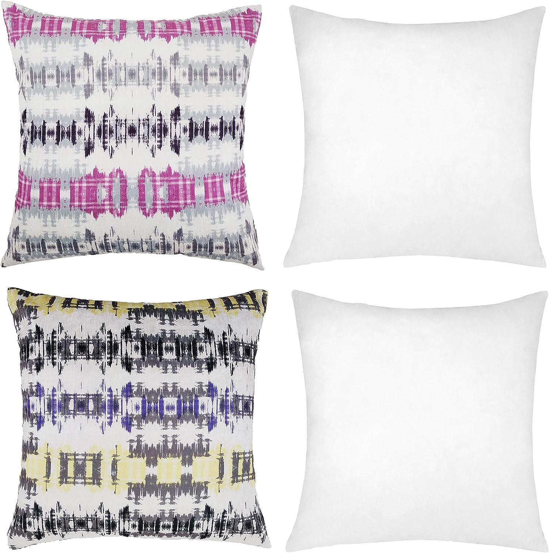 ForenTex Pack 2 Fundas de Cojín Estampados Coloridas+ 2 Rellenos Fibra, Rosa, 45x45 cm, 4: Amazon.es: Hogar