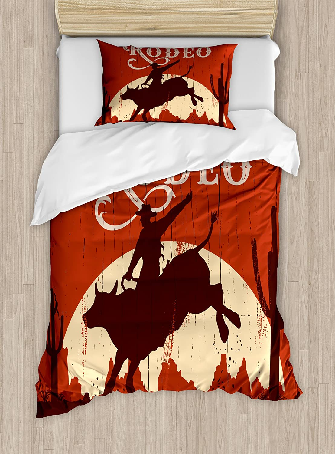 Ambesonne Vintage Duvet Cover Set Twin Size, Rodeo Cowboy Riding Bull Wooden Old Sign Western Style Wilderness at Sunset Image, Decorative 2 Piece Bedding Set with 1 Pillow Sham, Orange Brown
