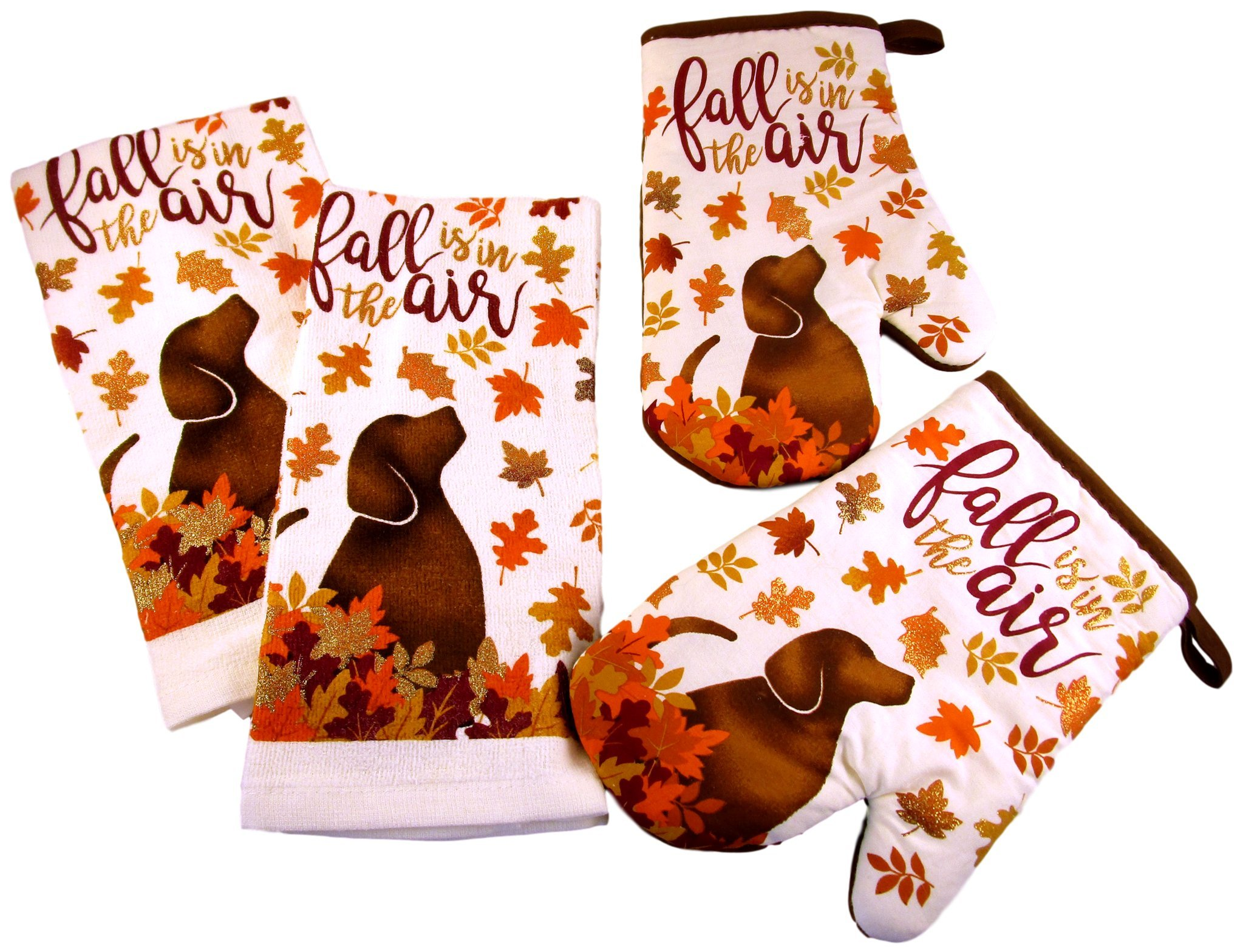 Thanksgiving Kitchen Towels and Oven Mitts - Bundle of 4 Items: 2 Dish Towels and 2 Oven Mitts (Brown Dog - Fall in The Air)