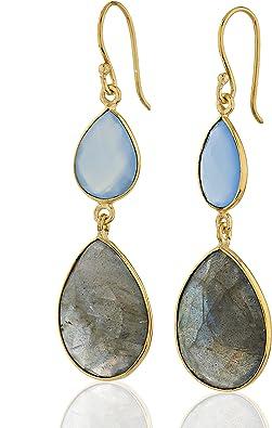 Laboradite goldtone Earrings
