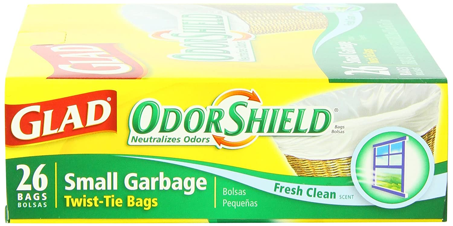OdorShield 4 Gallon White Trash Bag Glad Small Trash Bags Febreze Fresh Clean 26 Count Each Pack of 6
