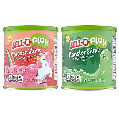 JELLO Play Monster & Unicorn Slime Gelatin Dessert Mix (14.8oz Box): Grocery & Gourmet Food