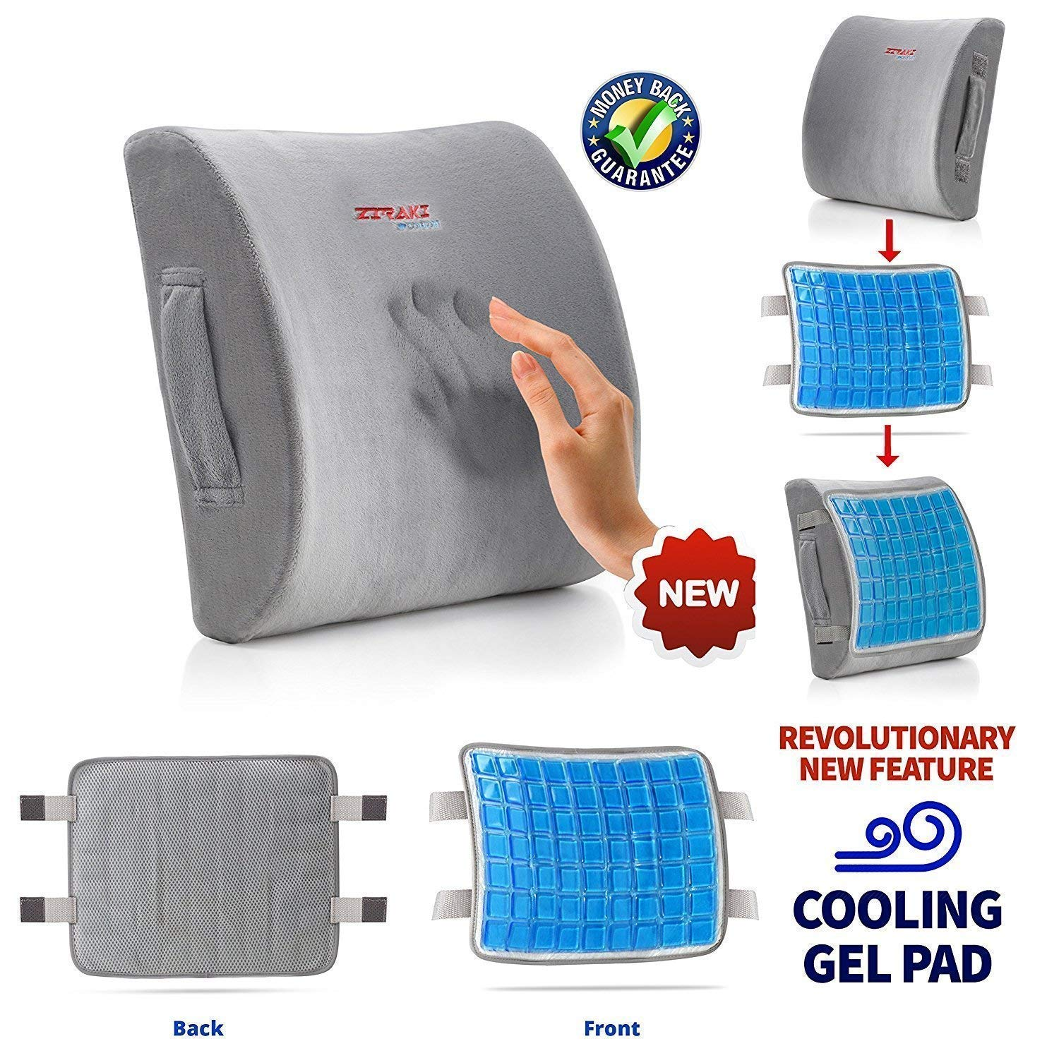 Lumbar Support Pillow Cushion, Memory Foam Soft & Firm to Protect & Soothe Lower Back, Pain Relief, Orthopedic, Velvet Washable Cover, Cool Gel, Adjustable Straps Ideal Gift Home Office Chair Car Seat