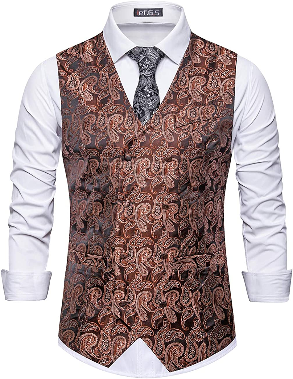 ief.G.S Mens Vests Dress, Fashion Paisley Floral Jacquard Print Waistcoat Suit Vest for Men or Tuxedo Vest