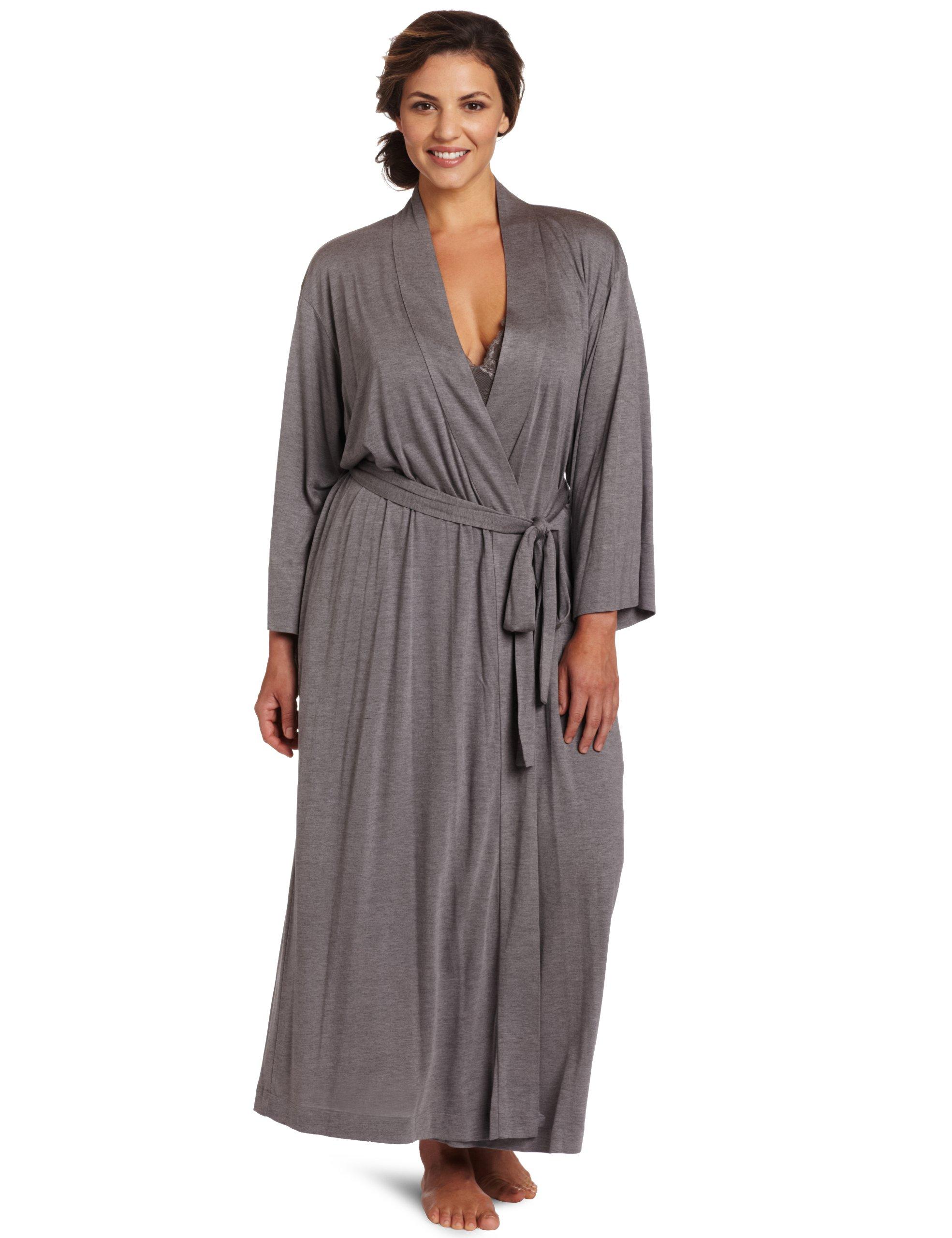 Natori Women's  Plus-Size Shangri-La Bathrobe, Gray, 2X