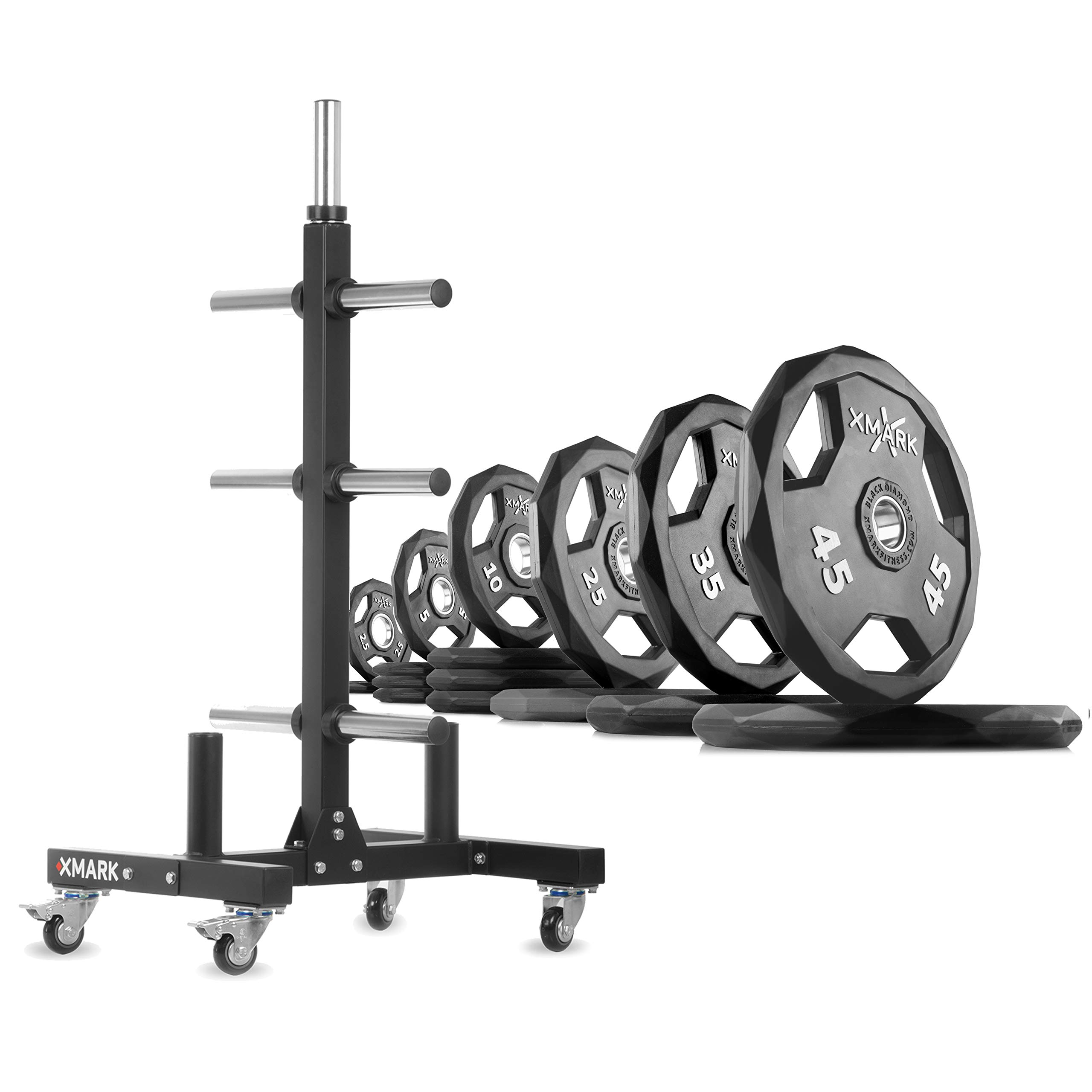 XMark XM-9055 Commerical Olympic Weight Tree Plus a 275 lb Set of Black Diamond Olympic Plates by XMark
