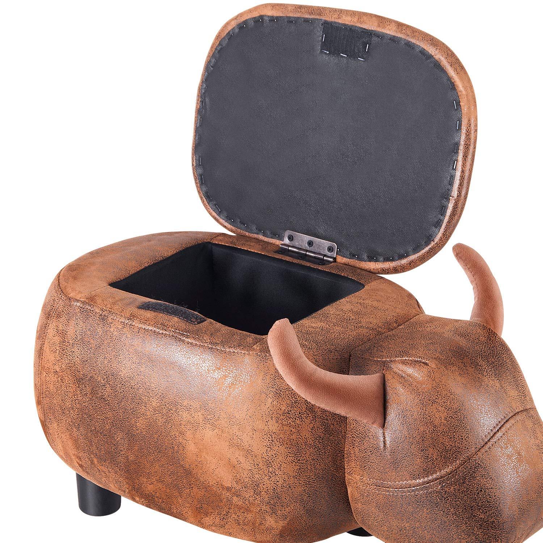 AYBB Storage Ottoman,Upholstered Ride-on Storage Ottoman Folding Footrest Stool Brown Buffalo