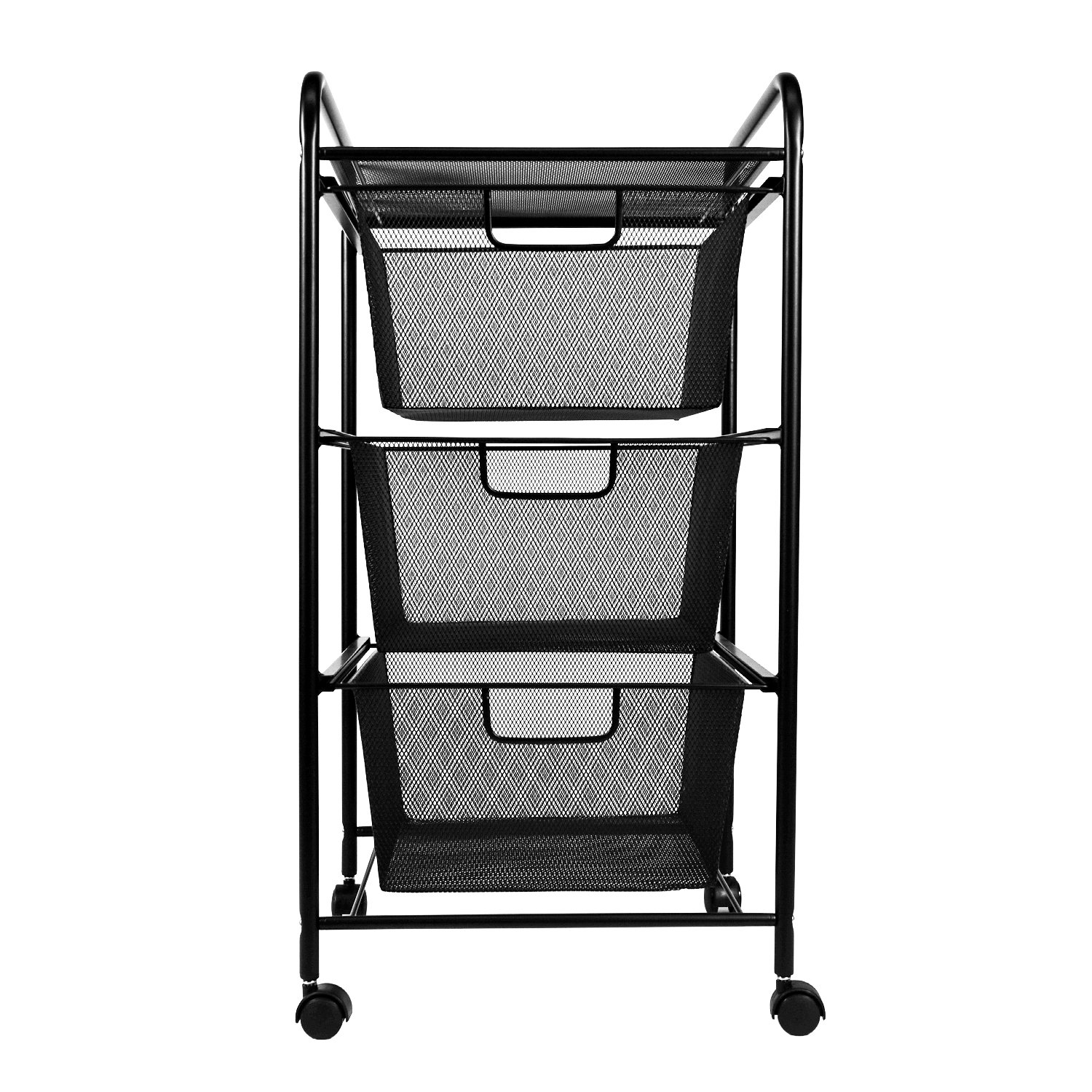 YIMU 3 Tier Metal Mesh Cart with 3 Drawers, Office& Kitchen Storage with Rolling Wheels, Black