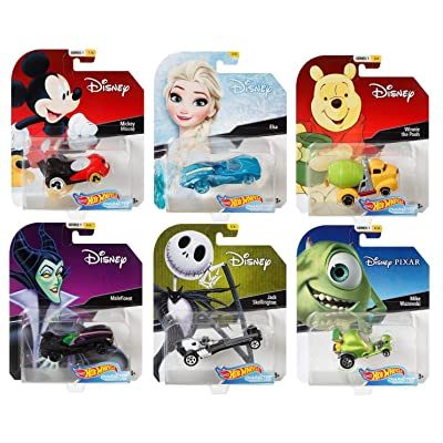2020 Hot Wheels Set of 6 Disney 1/64 Character Cars Collectible Die Cast Toy Cars, with Michey Mouse, Elsa, Winnie The Pooh, Maleficent, Jack Skellington, Mike Wazowski.: Toys & Games