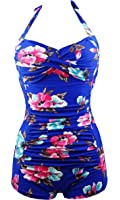 Cocoship Elegant Floral Retro Inspired Boy-Leg One Piece Ruched Maillot Swimsuit(FBA)