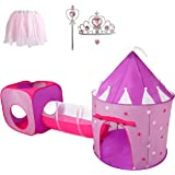 Gift for Girls, Princess Tent with Tunnel, Kids Castle Playhouse & Princess Dress up Pop Up Play Tent Set, Toddlers Toy Birth