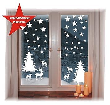 Das Label Wiederverwendbare Winterliche Fensterbilder Weiß
