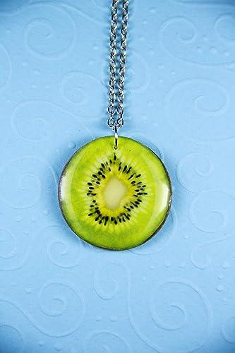 kiwi green grapes lemon limes pendant miniature food jewelry Green fruits heart pendant Kawai, earrings resin jewelry