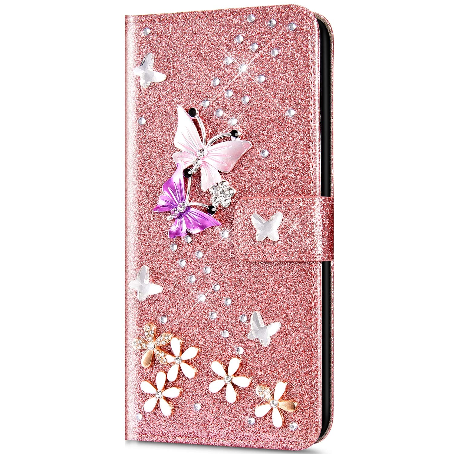 Case for Galaxy S10e Flip Case Premium PU Leather Wallet Case 3D Handmade Glitter Bling Shiny Diamond Butterfly with Card Slots Kickstand for Galaxy S10e,Rose gold by ikasus