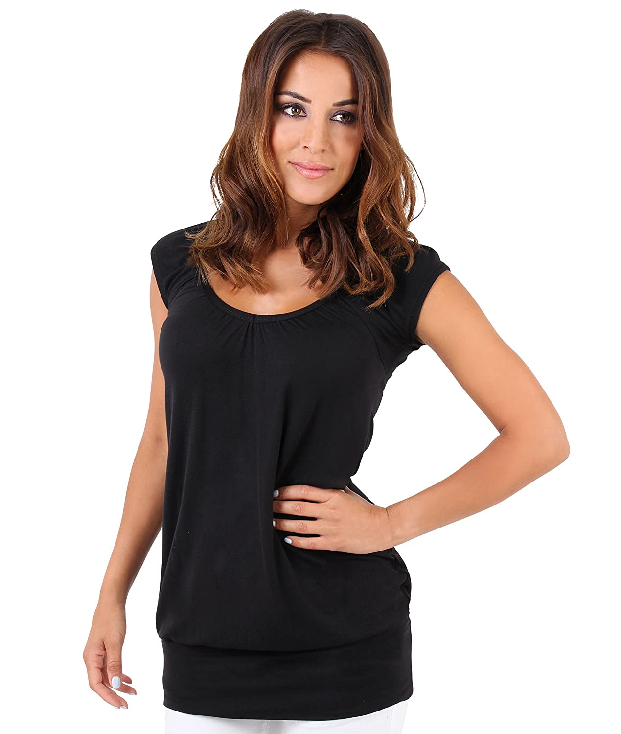 KRISP Damen Basic Longshirt Oberteil T-Shirt Top