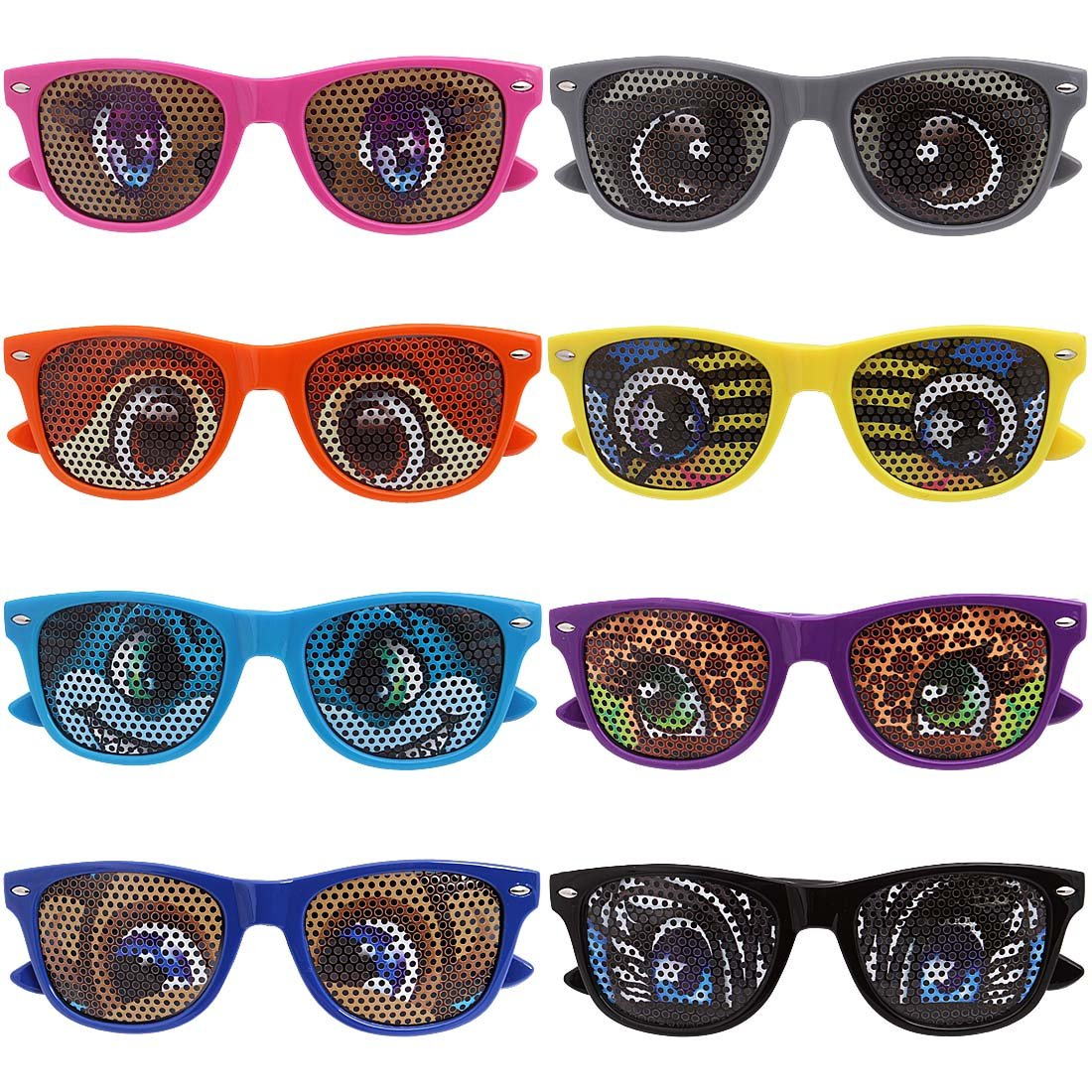 Ava /& Kings 8 pc Mixed Color Cartoon Animal Eye Decal Childrens Party Sunglasses Little Kids