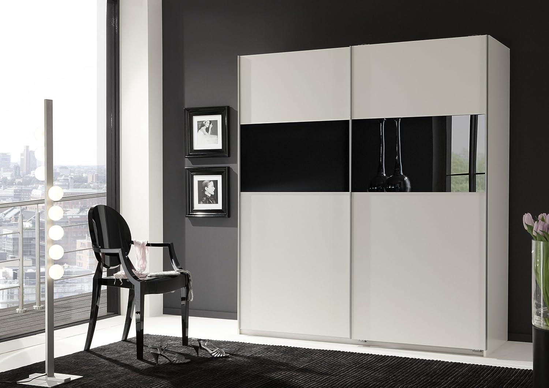 Wimex Kleiderschrank/ Schwebetürenschrank Arezzo, 2 Türen, (B/H/T) 198 X 64  X 180 Cm, Alpinweiß/ Absetzung Glas Weiß: Amazon.de: Küche U0026 Haushalt