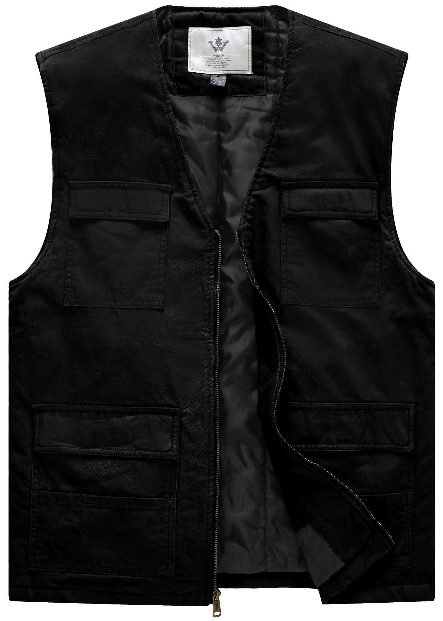 WenVen Men's Quilt Lined V-Neck Vest(Black,X-Large)