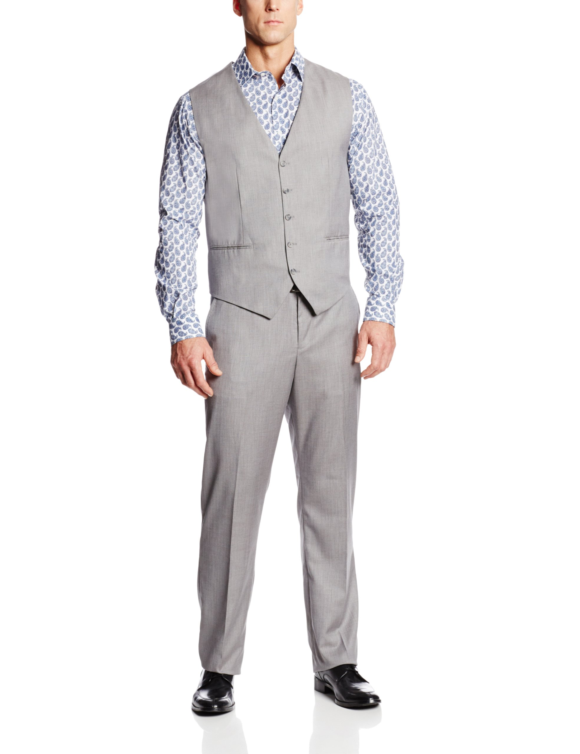Perry Ellis Men's Big and Tall Linen Five Button Texture Vest, Brushed Nickel, 2X