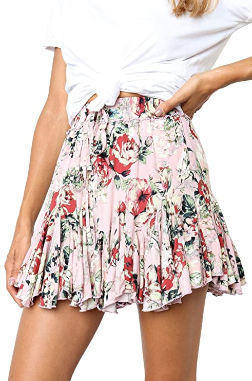 Hibluco Women' Floral Layered Ruffles Tie up High Waist Short Pleated Skirt Pink
