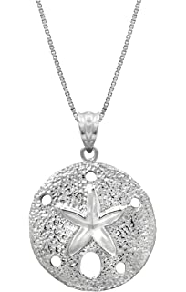 Amazon sterling silver sand dollar necklace pendant with 18 sterling silver sand dollar necklace pendant with 18 box chain aloadofball Image collections