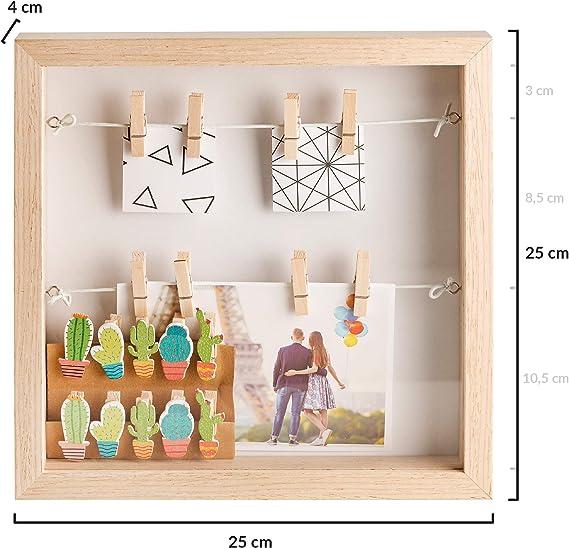 Gadgy ® Marco de Foto 3D con Profundidad | 18 Pinzas | Caja Madera ...