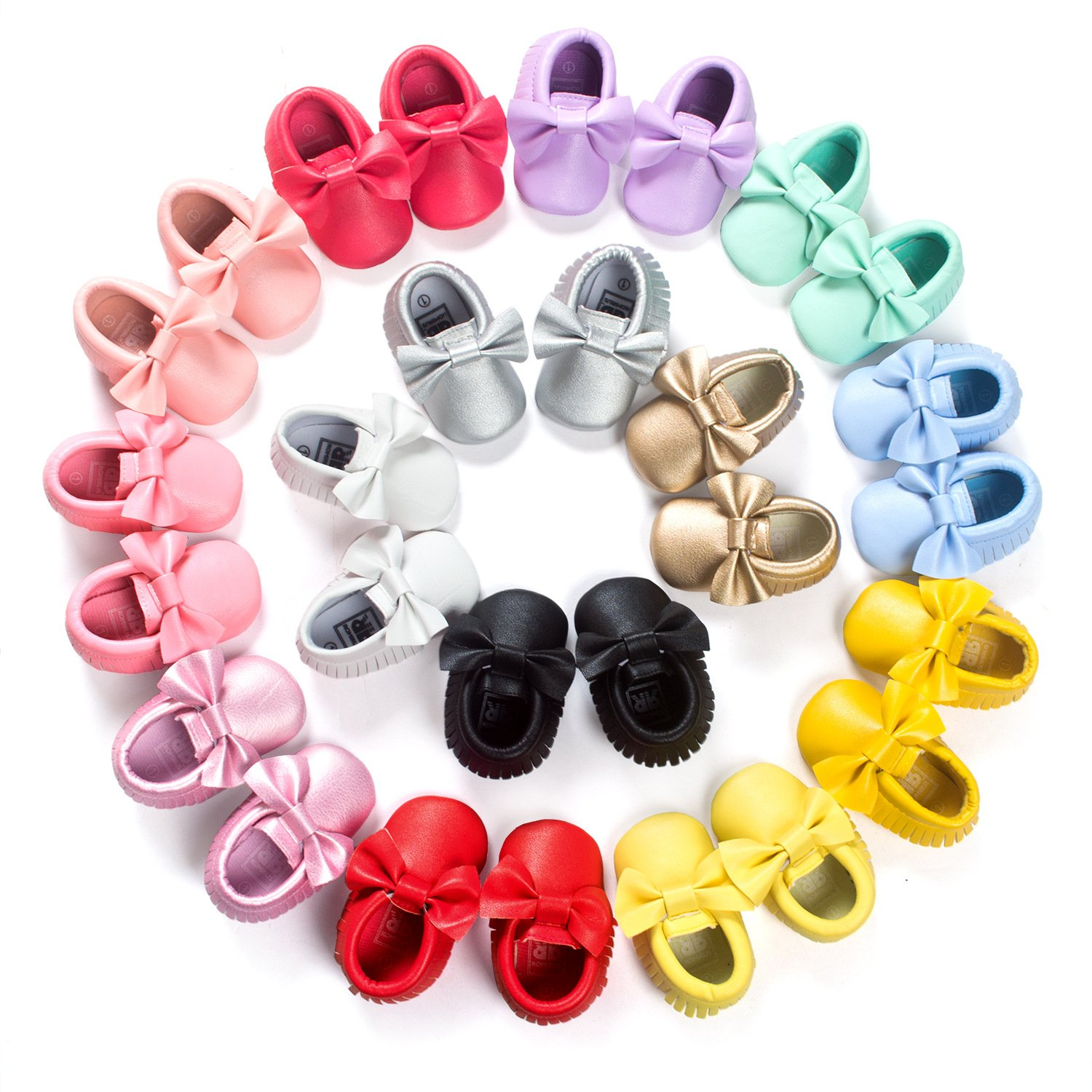 C&H Baby boy girl soft cute tassel bow tassels baby cot shoes baby shoes (11cm(0-6months), 5107 golden) by C&H (Image #6)