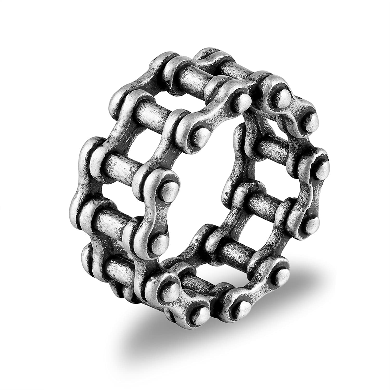 94efe6d2fd193 Denvosi Stainless Steel Ring Simple Bike Chain Punk and Rock Biker Ring for  Men Size 5-15