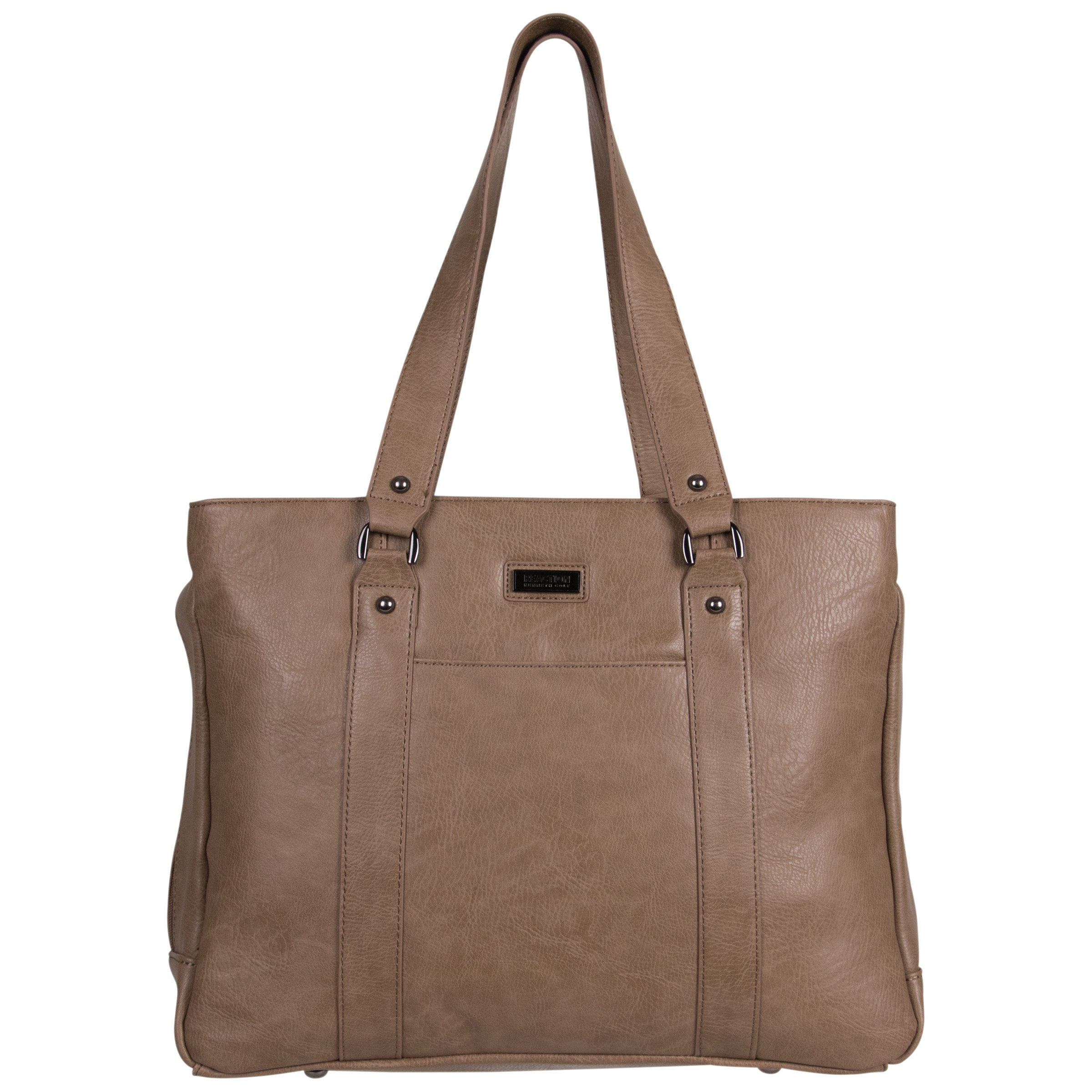 "Kenneth Cole Reaction Women's Faux Leather Triple Compartment Top Zip 15.0"" Computer Business Laptop Tote, Taupe, One Size"