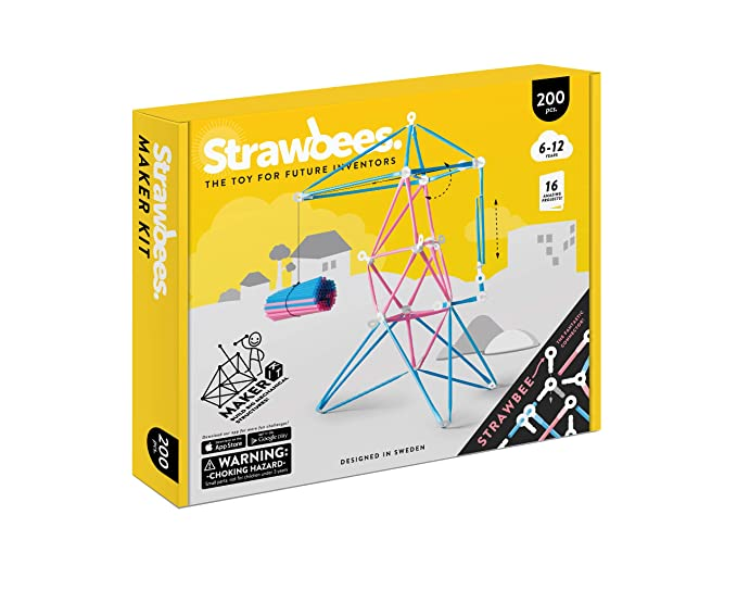 amazon com: strawbees stem maker kit | educational 200 pcs construction set  [ kids +5 ] creative open-ended projects: toys & games