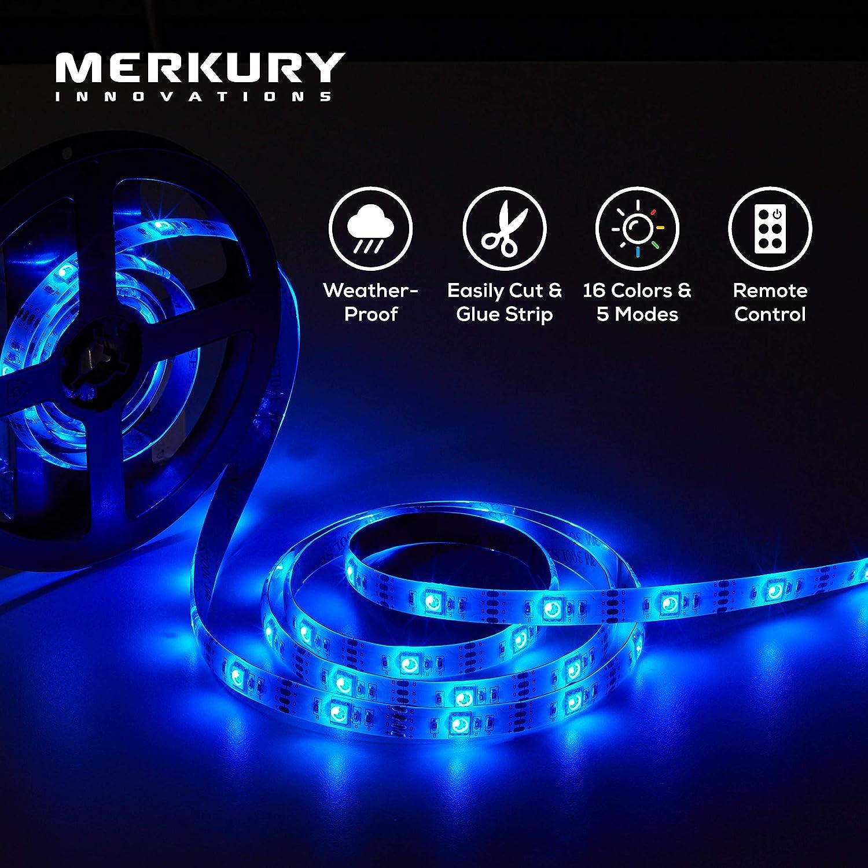 Merkury Innovations LED Strip Light Waterproof 120 LEDs 12 Ft RGB SMD 5050 LED Rope Lights Color Changing LED Strip Lights with 24-Keys IR Remote Controller 12v Power Supply TV Backlight Kit w Remote