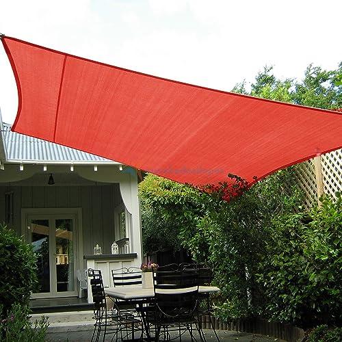TANG Sun Shades Depot Sun Shade Sail 21' x 24' Red Canopy Rectangle 180 GSM Shade Sail UV Block