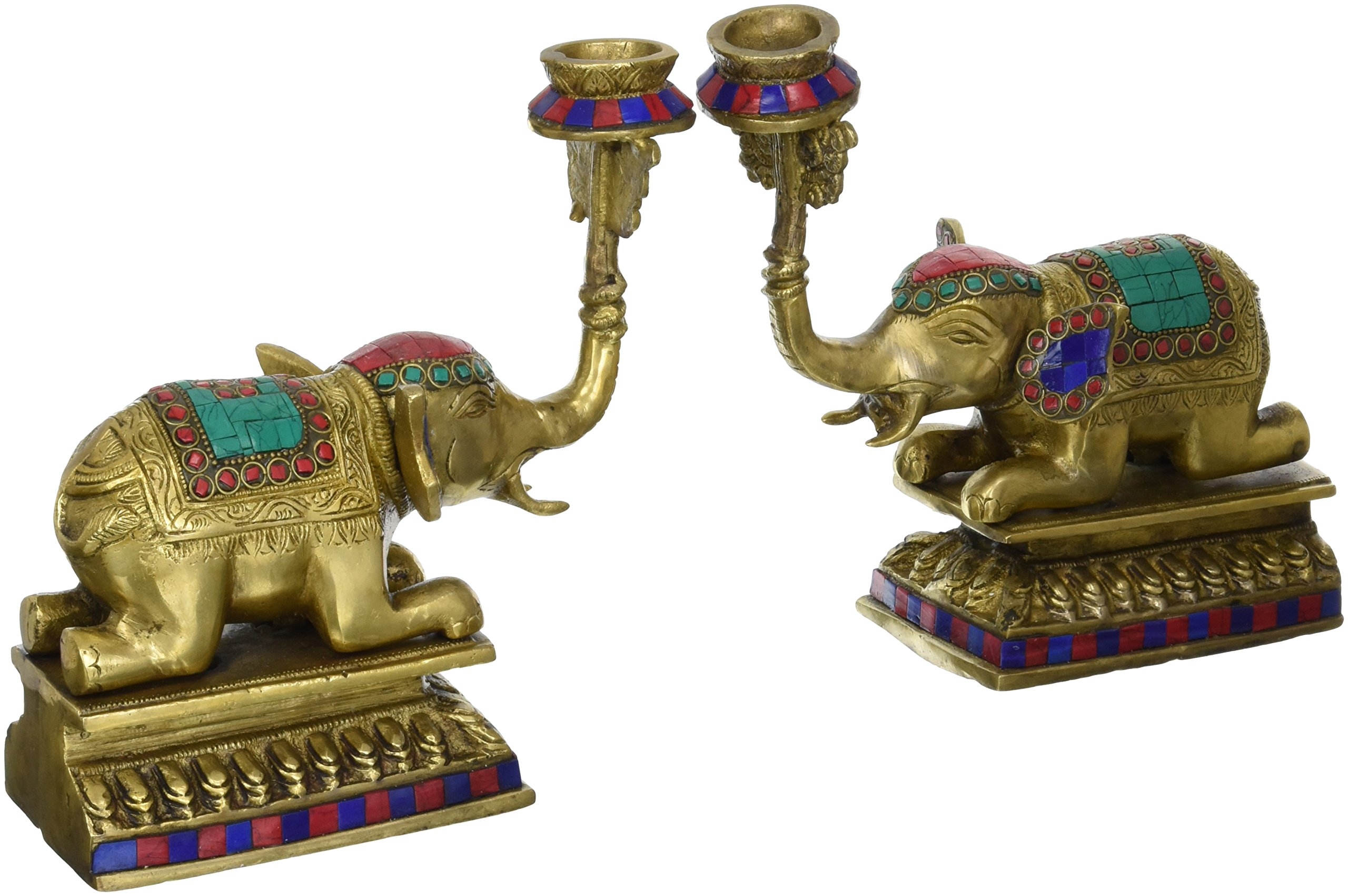 Aone India 9'' Large Candle Holder Set Elephant Statue -Brass with Coral Work - Beautiful Home Decor + Cash Envelope (Pack Of 10)