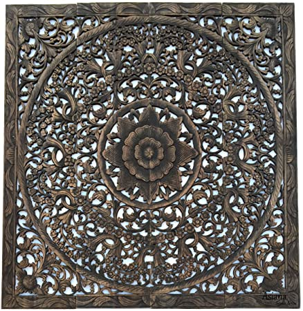 Large Tropical Wood Carved Wall Panels Floral Wood Wall Hanging