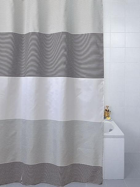 Blue Canyon Horizon Cream Polyester Shower Curtain 180cm X Grey