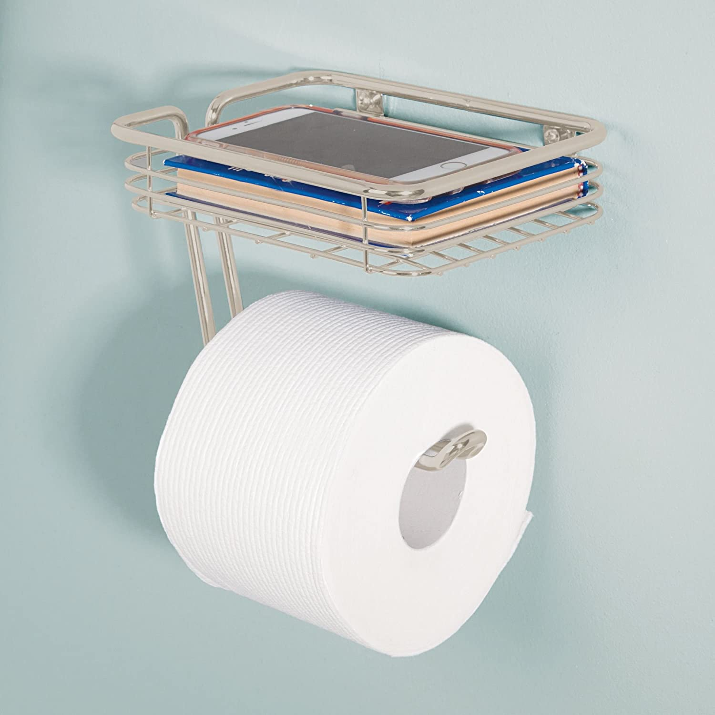 mDesign Wall Mount Toilet Tissue Paper Roll Holder and Dispenser ...