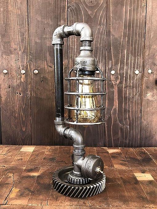 ALIYAY Lámpara de mesa Steampunk industrial vintage Lámpara de ...