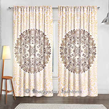 Ombre Mandala Curtains Indian Tapestry Bohemian Window Curtain Door Cover Set Valance Ethnic Decor