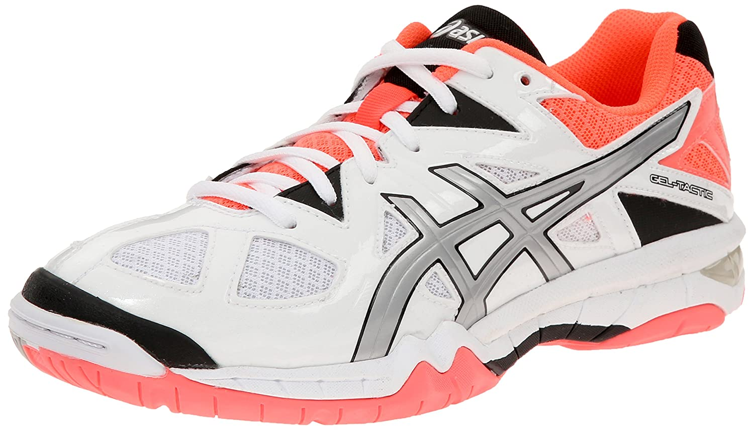 ASICS Women's Gel Tactic Volleyball Shoe B00Q2JKWYC 11.5 B(M) US|White/Silver/Flash Coral