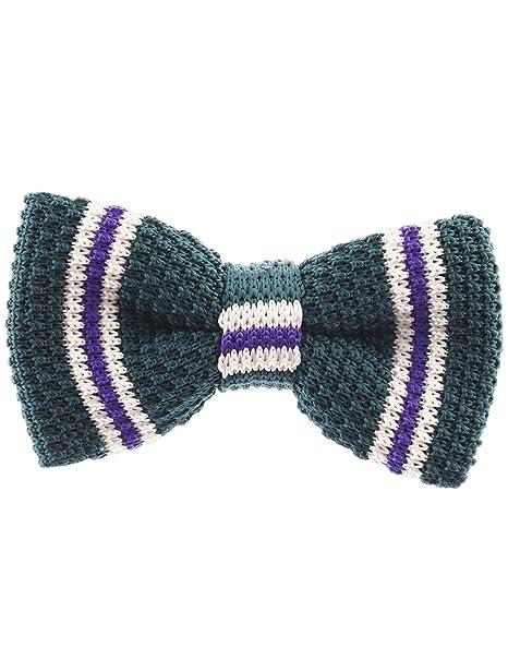 Flatseven Mens Pre Tied Knit Bow Tie Striped Pattern Bowtie Yb502