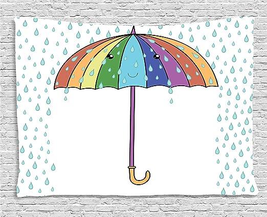 ABAKUHAUS Lluvia Tapiz de Pared, Las Precipitaciones De Dibujos ...
